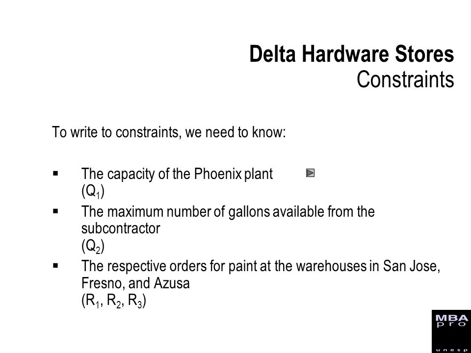 To write to constraints, we need to know: The capacity of the Phoenix plant (Q 1 ) The maximum number of gallons available from the subcontractor (Q 2