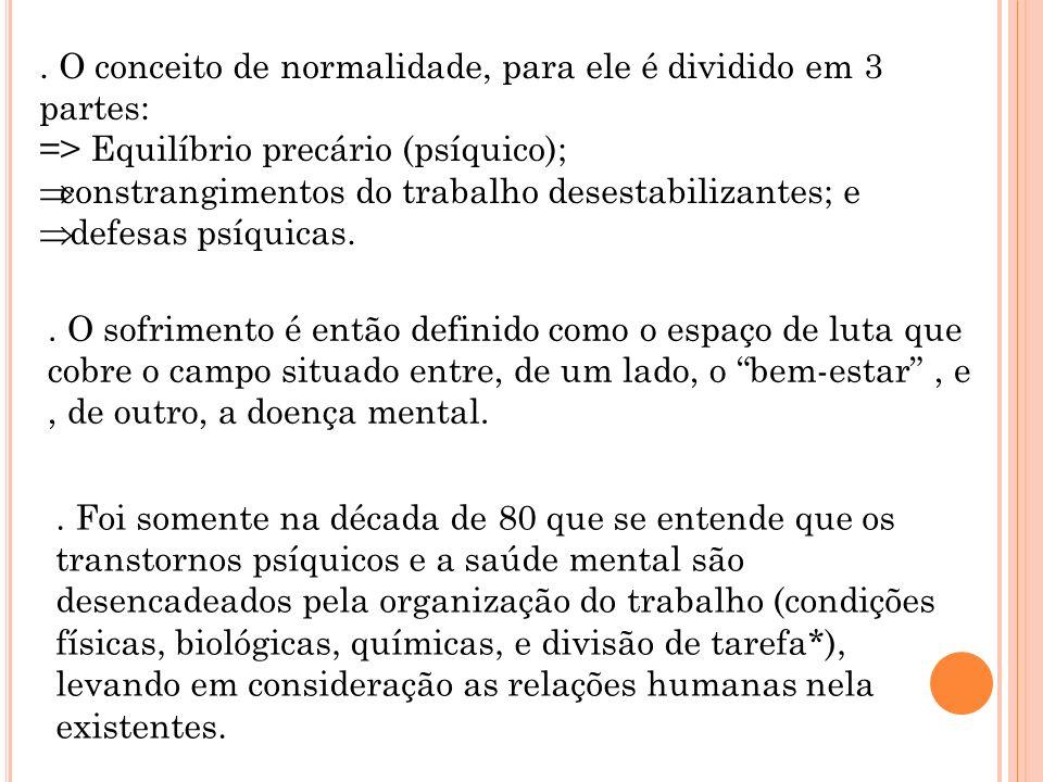 . O conceito de normalidade, para ele é dividido em 3 partes: => Equilíbrio precário (psíquico); constrangimentos do trabalho desestabilizantes; e def