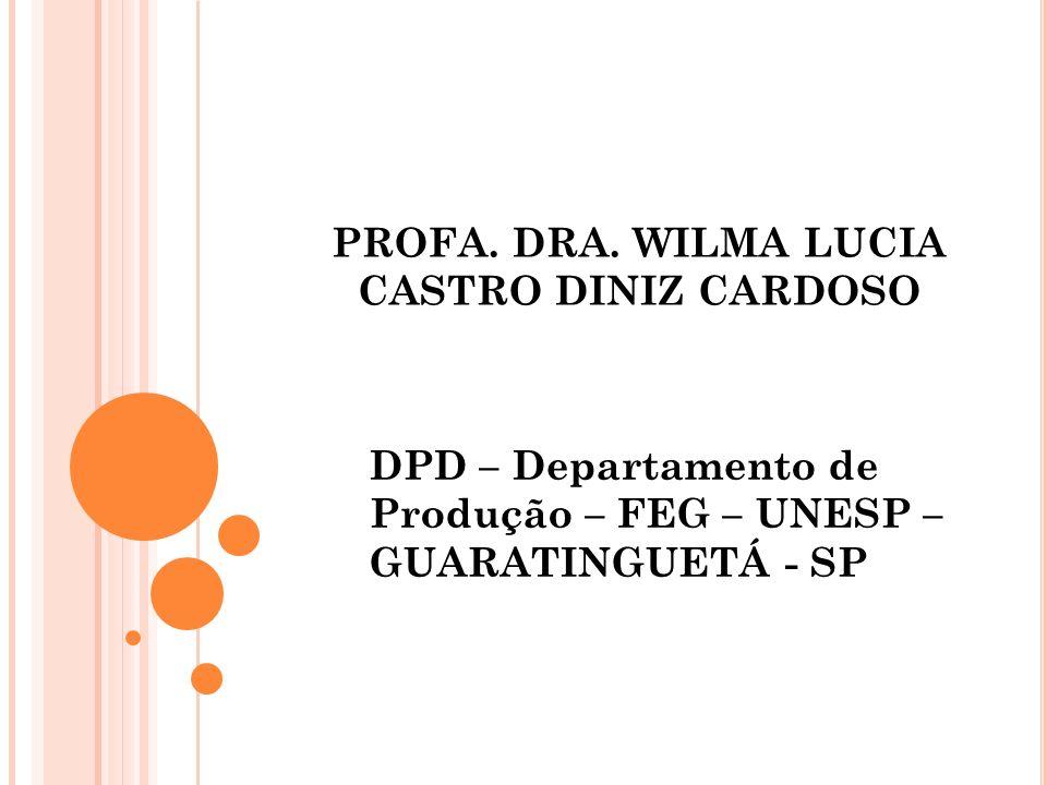 PROFA. DRA. WILMA LUCIA CASTRO DINIZ CARDOSO DPD – Departamento de Produção – FEG – UNESP – GUARATINGUETÁ - SP
