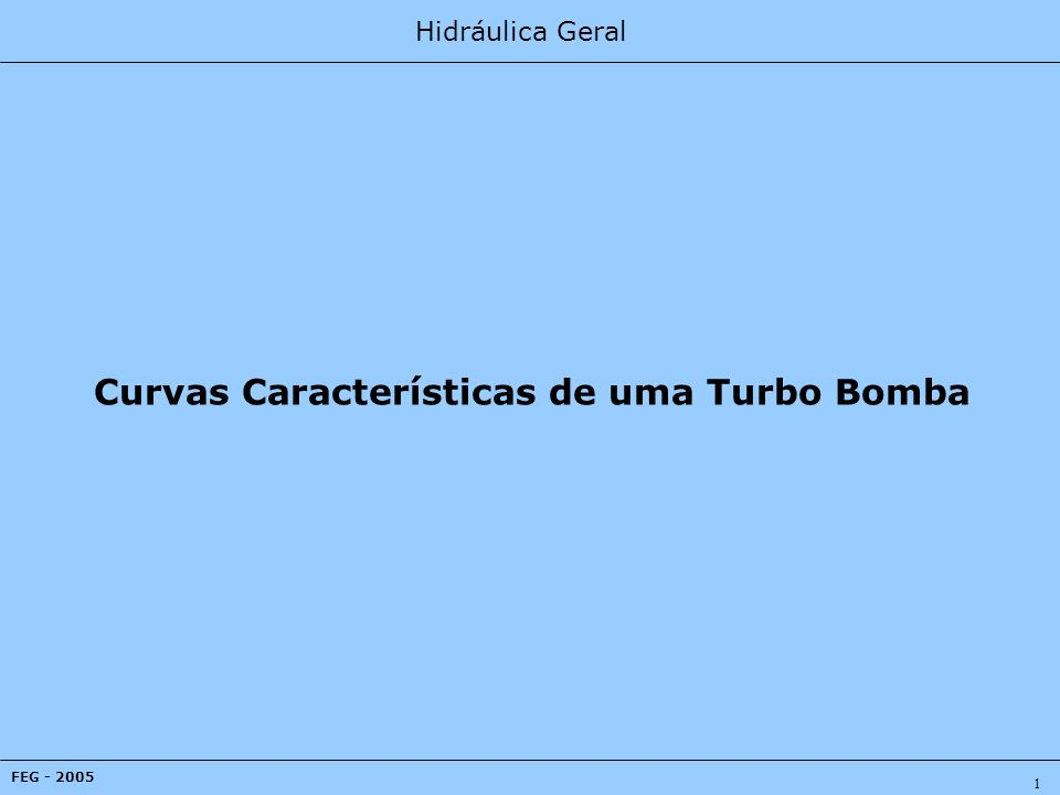 Hidráulica Geral FEG - 2005 1 Curvas Características de uma Turbo Bomba