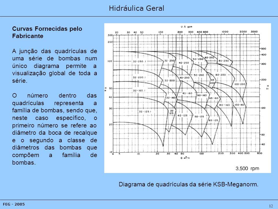 Hidráulica Geral FEG - 2005 12 Curvas Fornecidas pelo Fabricante A junção das quadrículas de uma série de bombas num único diagrama permite a visualização global de toda a série.