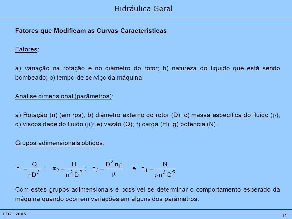Hidráulica Geral FEG - 2005 13 Fatores que Modificam as Curvas Características Fatores: a) Variação na rotação e no diâmetro do rotor; b) natureza do líquido que está sendo bombeado; c) tempo de serviço da máquina.