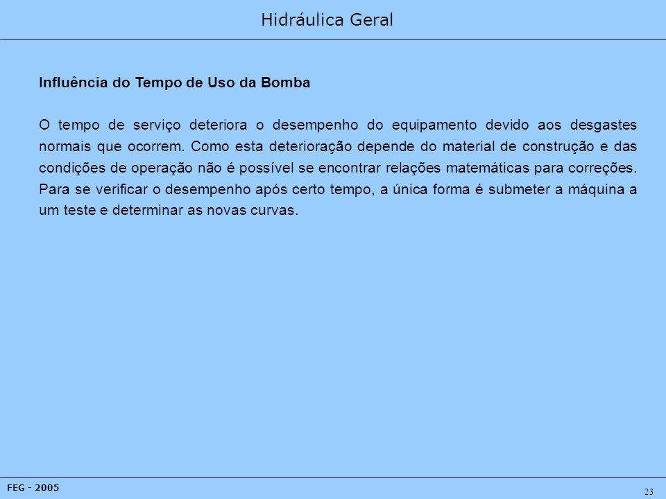 Hidráulica Geral FEG - 2005 23 Influência do Tempo de Uso da Bomba O tempo de serviço deteriora o desempenho do equipamento devido aos desgastes normais que ocorrem.
