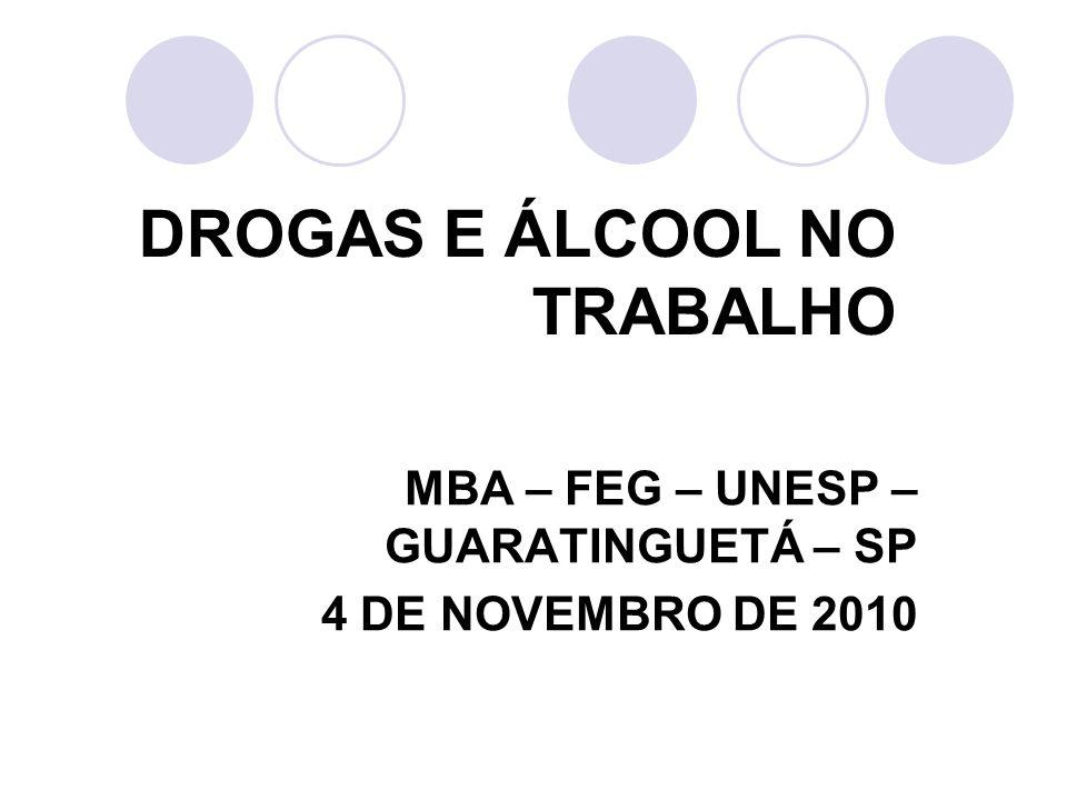 DROGAS E ÁLCOOL NO TRABALHO MBA – FEG – UNESP – GUARATINGUETÁ – SP 4 DE NOVEMBRO DE 2010