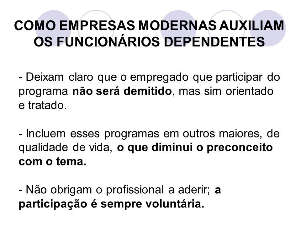 COMO EMPRESAS MODERNAS AUXILIAM OS FUNCIONÁRIOS DEPENDENTES - Deixam claro que o empregado que participar do programa não será demitido, mas sim orientado e tratado.