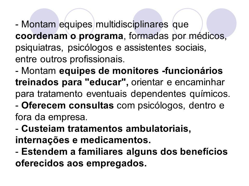 - Montam equipes multidisciplinares que coordenam o programa, formadas por médicos, psiquiatras, psicólogos e assistentes sociais, entre outros profissionais.