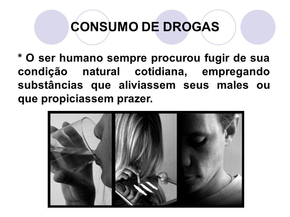 CONSUMO DE DROGAS * O ser humano sempre procurou fugir de sua condição natural cotidiana, empregando substâncias que aliviassem seus males ou que propiciassem prazer.