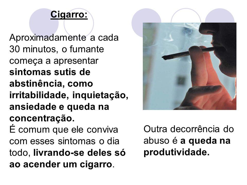 Cigarro: Aproximadamente a cada 30 minutos, o fumante começa a apresentar sintomas sutis de abstinência, como irritabilidade, inquietação, ansiedade e queda na concentração.