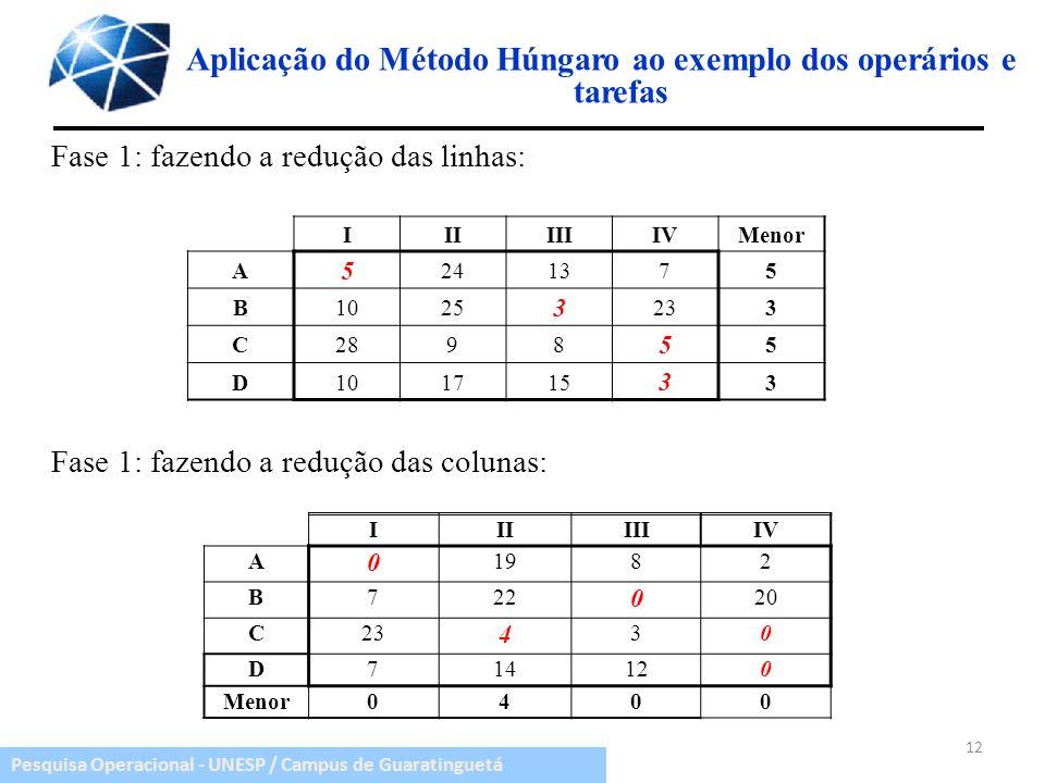 Pesquisa Operacional - UNESP / Campus de Guaratinguetá Aplicação do Método Húngaro ao exemplo dos operários e tarefas Fase 1: fazendo a redução das li