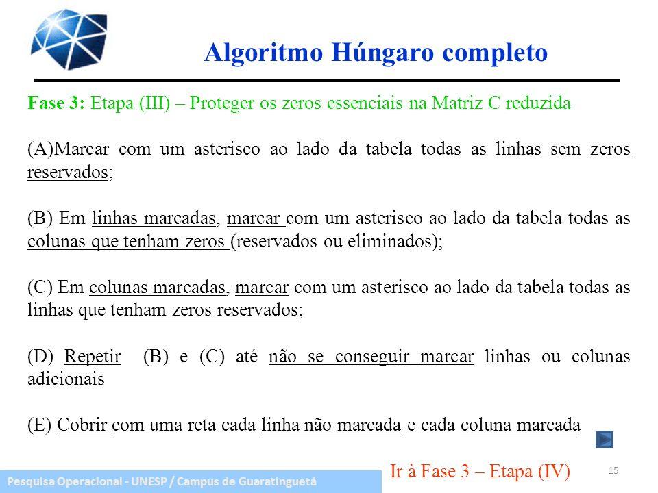 Pesquisa Operacional - UNESP / Campus de Guaratinguetá Algoritmo Húngaro completo Fase 3: Etapa (III) – Proteger os zeros essenciais na Matriz C reduz