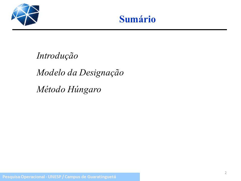 Pesquisa Operacional - UNESP / Campus de Guaratinguetá Sumário 2 Introdução Modelo da Designação Método Húngaro
