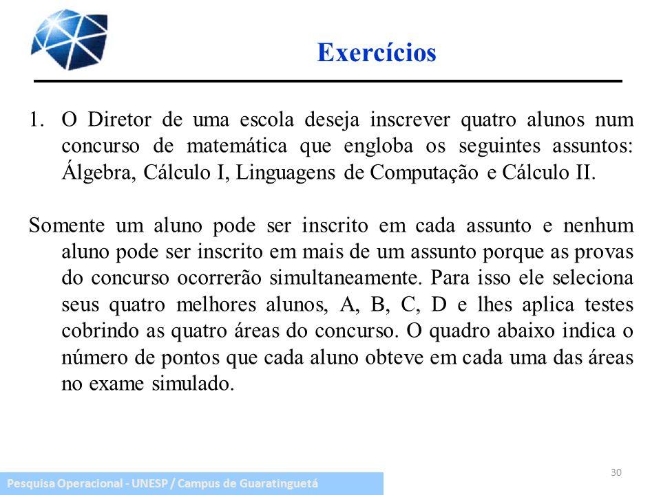 Pesquisa Operacional - UNESP / Campus de Guaratinguetá Exercícios 30 1.O Diretor de uma escola deseja inscrever quatro alunos num concurso de matemáti