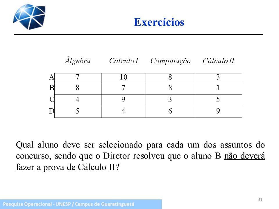Pesquisa Operacional - UNESP / Campus de Guaratinguetá ÁlgebraCálculo IComputaçãoCálculo II A71083 B8781 C4935 D5469 31 Qual aluno deve ser selecionad