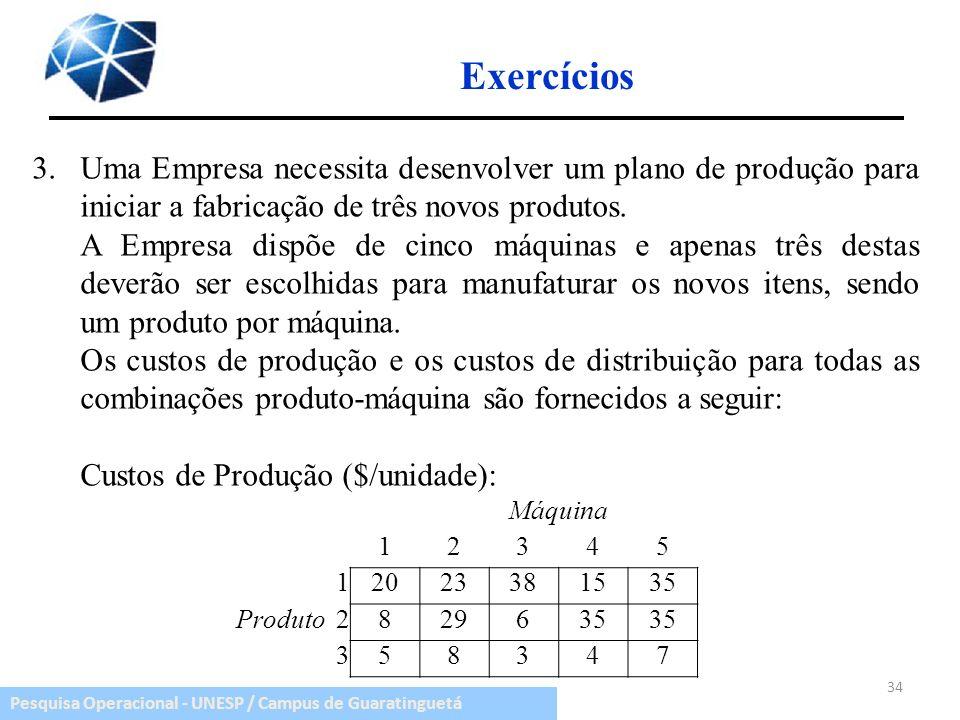 Pesquisa Operacional - UNESP / Campus de Guaratinguetá 34 Exercícios 3.Uma Empresa necessita desenvolver um plano de produção para iniciar a fabricaçã