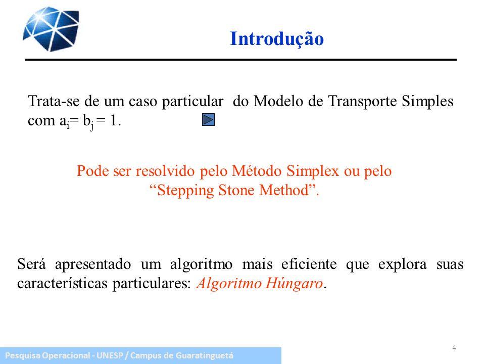 Pesquisa Operacional - UNESP / Campus de Guaratinguetá Introdução Trata-se de um caso particular do Modelo de Transporte Simples com a i = b j = 1. 4