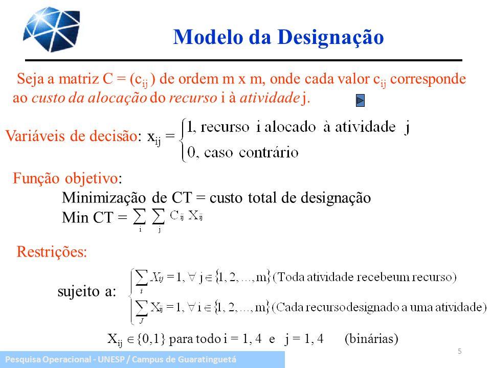 Pesquisa Operacional - UNESP / Campus de Guaratinguetá Seja a matriz C = (c ij ) de ordem m x m, onde cada valor c ij corresponde ao custo da alocação