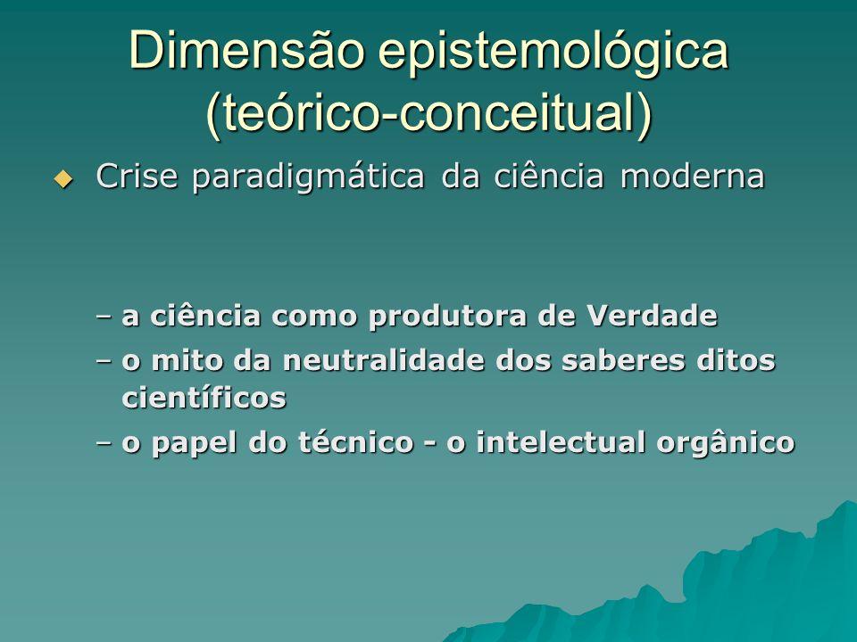 Dimensão epistemológica (teórico-conceitual) Crise paradigmática da ciência moderna Crise paradigmática da ciência moderna –a ciência como produtora d