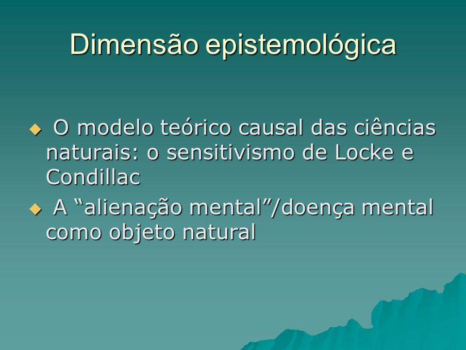 Dimensão epistemológica O modelo teórico causal das ciências naturais: o sensitivismo de Locke e Condillac O modelo teórico causal das ciências natura