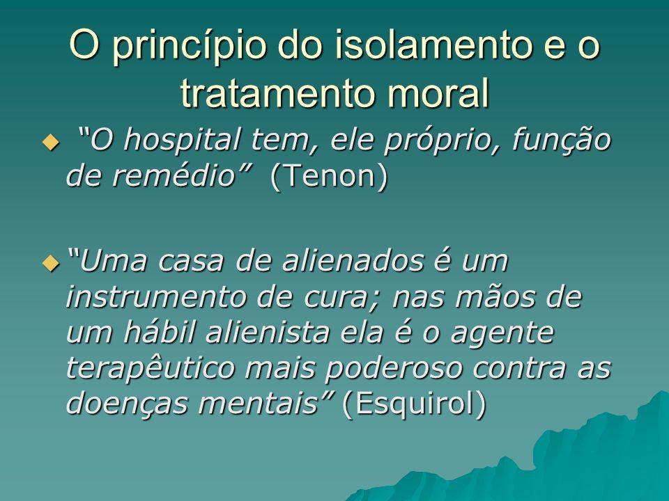 O princípio do isolamento e o tratamento moral O hospital tem, ele próprio, função de remédio (Tenon) O hospital tem, ele próprio, função de remédio (