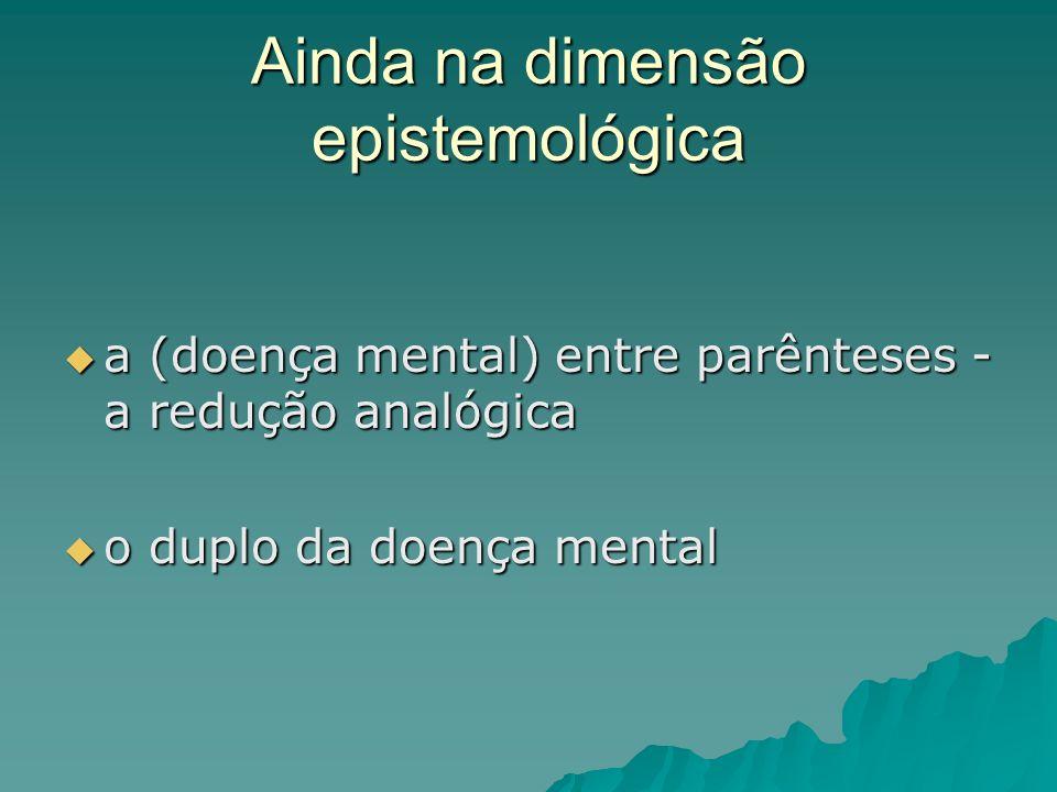 Ainda na dimensão epistemológica a (doença mental) entre parênteses - a redução analógica a (doença mental) entre parênteses - a redução analógica o d