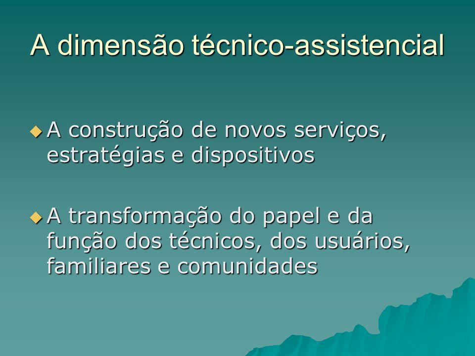 A dimensão técnico-assistencial A construção de novos serviços, estratégias e dispositivos A construção de novos serviços, estratégias e dispositivos