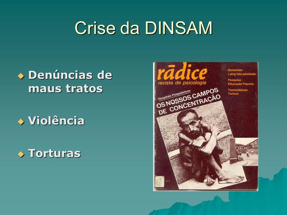 Crise da DINSAM Denúncias de maus tratos Denúncias de maus tratos Violência Violência Torturas Torturas