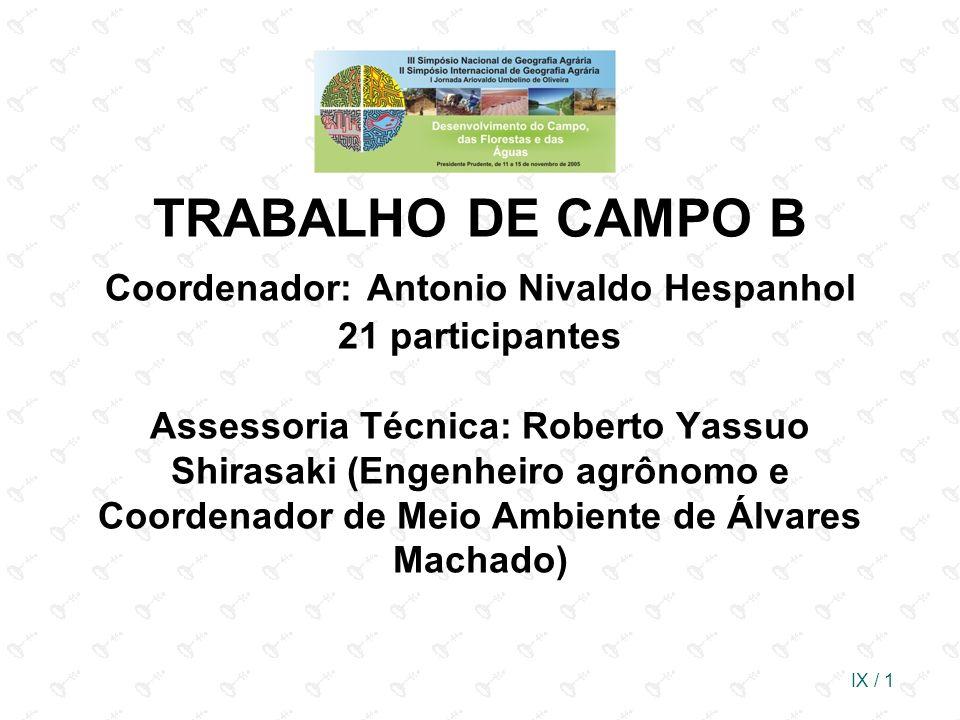 IX / 1 TRABALHO DE CAMPO B Coordenador: Antonio Nivaldo Hespanhol 21 participantes Assessoria Técnica: Roberto Yassuo Shirasaki (Engenheiro agrônomo e