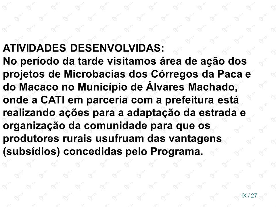 IX / 27 ATIVIDADES DESENVOLVIDAS: No período da tarde visitamos área de ação dos projetos de Microbacias dos Córregos da Paca e do Macaco no Município