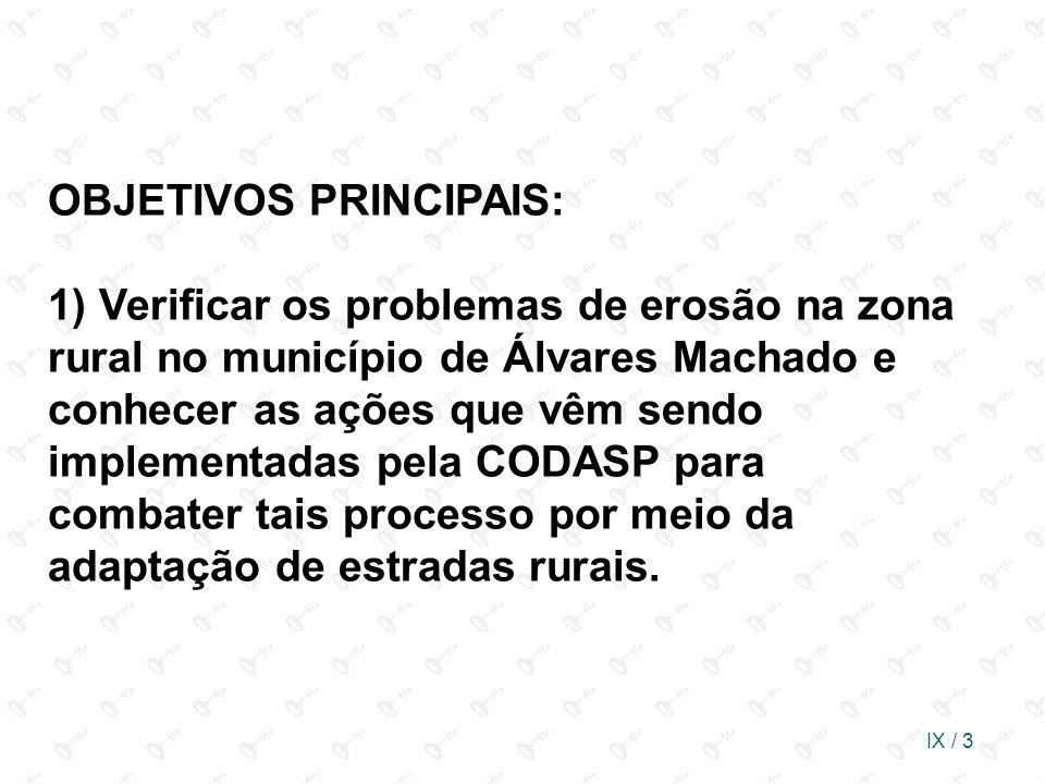 IX / 3 OBJETIVOS PRINCIPAIS: 1) Verificar os problemas de erosão na zona rural no município de Álvares Machado e conhecer as ações que vêm sendo imple