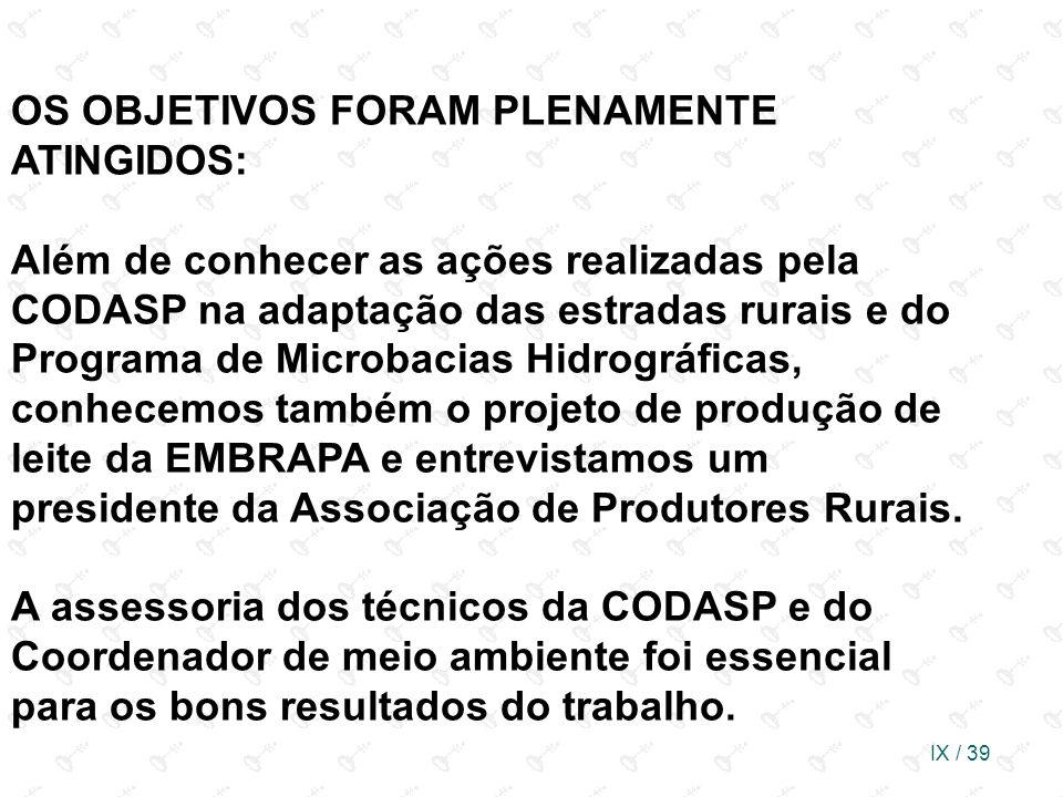 IX / 39 OS OBJETIVOS FORAM PLENAMENTE ATINGIDOS: Além de conhecer as ações realizadas pela CODASP na adaptação das estradas rurais e do Programa de Mi