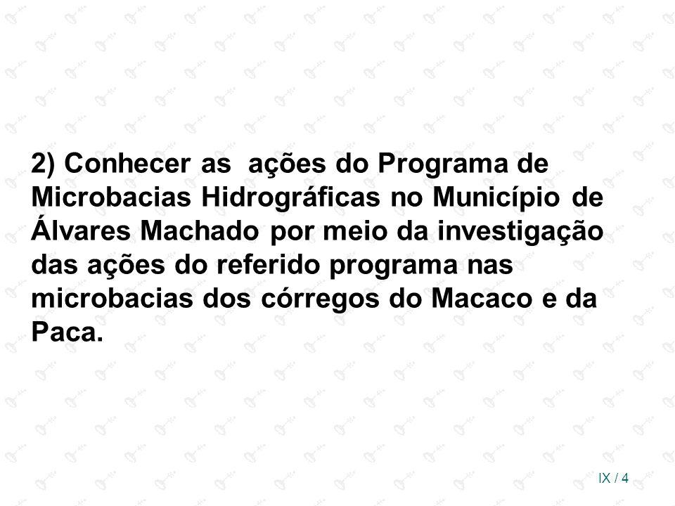 IX / 4 2) Conhecer as ações do Programa de Microbacias Hidrográficas no Município de Álvares Machado por meio da investigação das ações do referido pr
