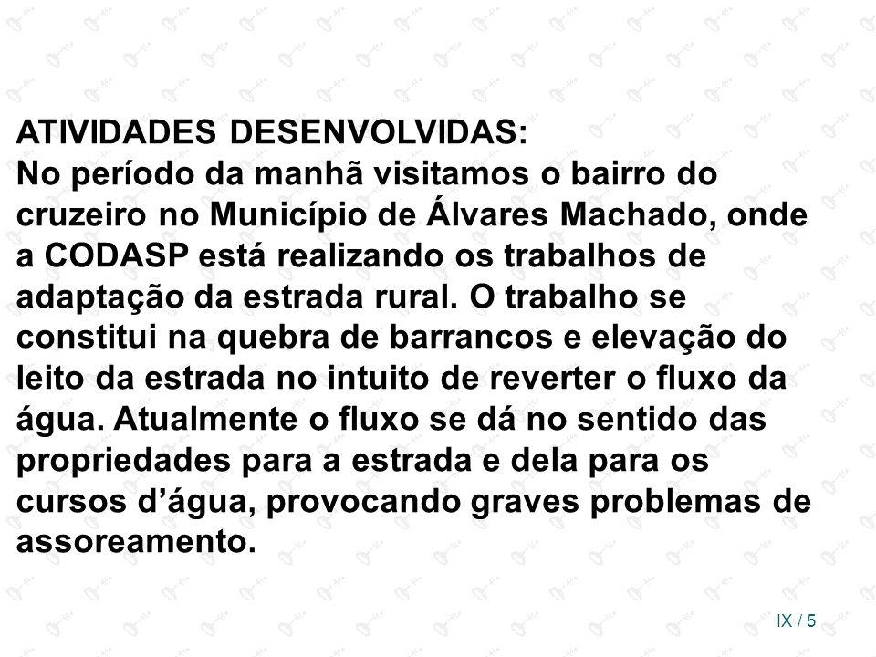 IX / 5 ATIVIDADES DESENVOLVIDAS: No período da manhã visitamos o bairro do cruzeiro no Município de Álvares Machado, onde a CODASP está realizando os