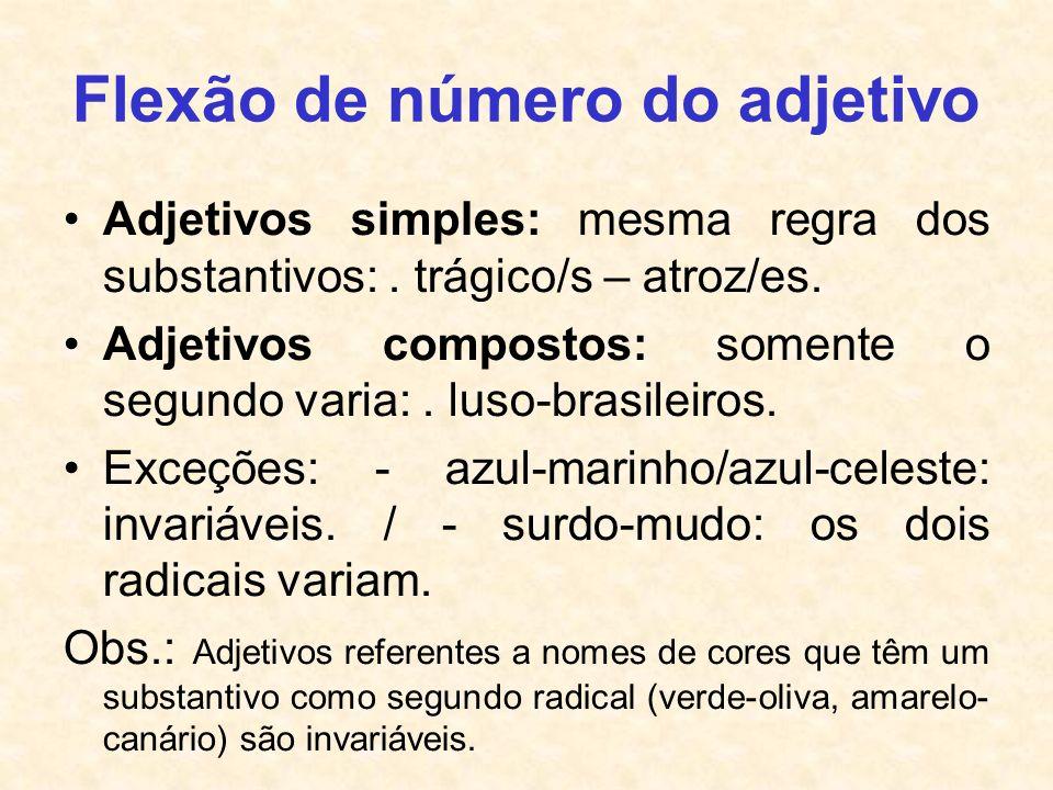 Flexão de número do adjetivo Adjetivos simples: mesma regra dos substantivos:. trágico/s – atroz/es. Adjetivos compostos: somente o segundo varia:. lu