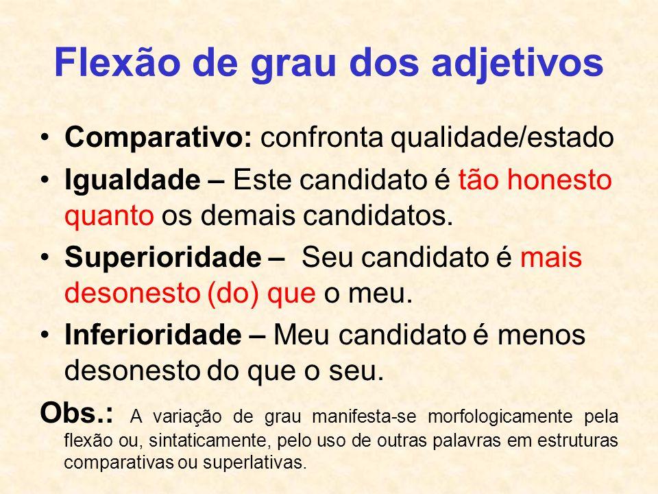 Flexão de grau dos adjetivos Comparativo: confronta qualidade/estado Igualdade – Este candidato é tão honesto quanto os demais candidatos. Superiorida