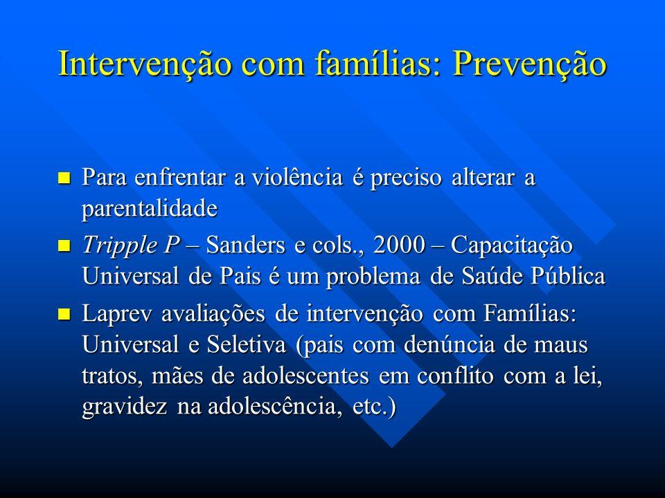 Intervenção com famílias: Prevenção Para enfrentar a violência é preciso alterar a parentalidade Para enfrentar a violência é preciso alterar a parent