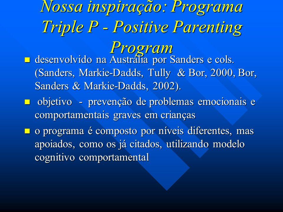 Nossa inspiração: Programa Triple P - Positive Parenting Program desenvolvido na Austrália por Sanders e cols. (Sanders, Markie-Dadds, Tully & Bor, 20