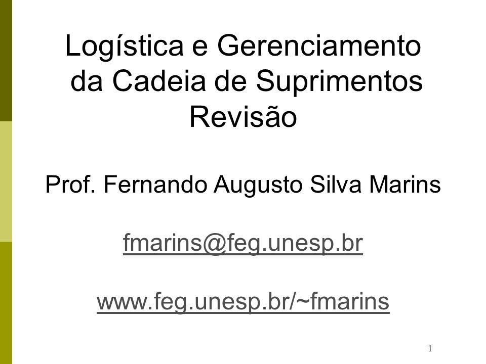 1 Logística e Gerenciamento da Cadeia de Suprimentos Revisão Prof. Fernando Augusto Silva Marins fmarins@feg.unesp.br www.feg.unesp.br/~fmarins fmarin