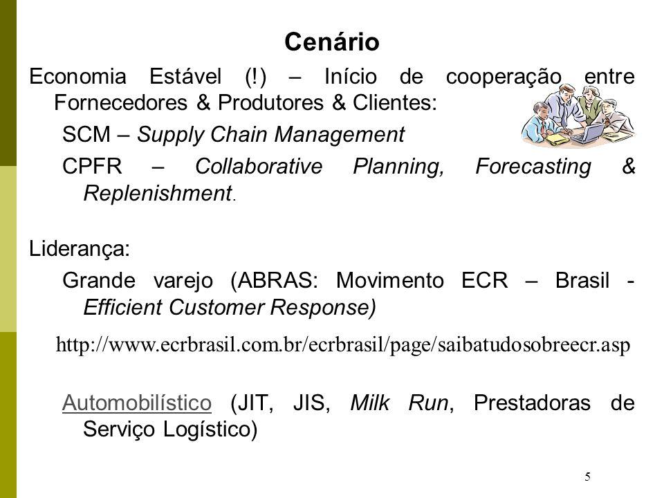 5 Cenário Economia Estável (!) – Início de cooperação entre Fornecedores & Produtores & Clientes: SCM – Supply Chain Management CPFR – Collaborative P