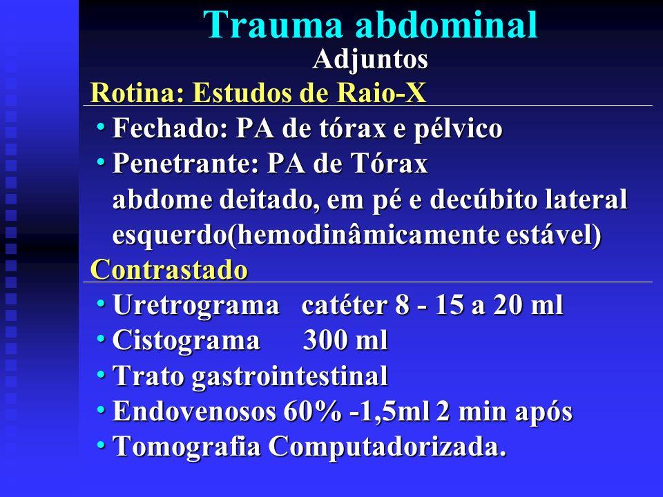 Adjuntos Trauma abdominal Adjuntos Rotina: Estudos de Raio-X Fechado: PA de tórax e pélvico Fechado: PA de tórax e pélvico Penetrante: PA de Tórax Pen