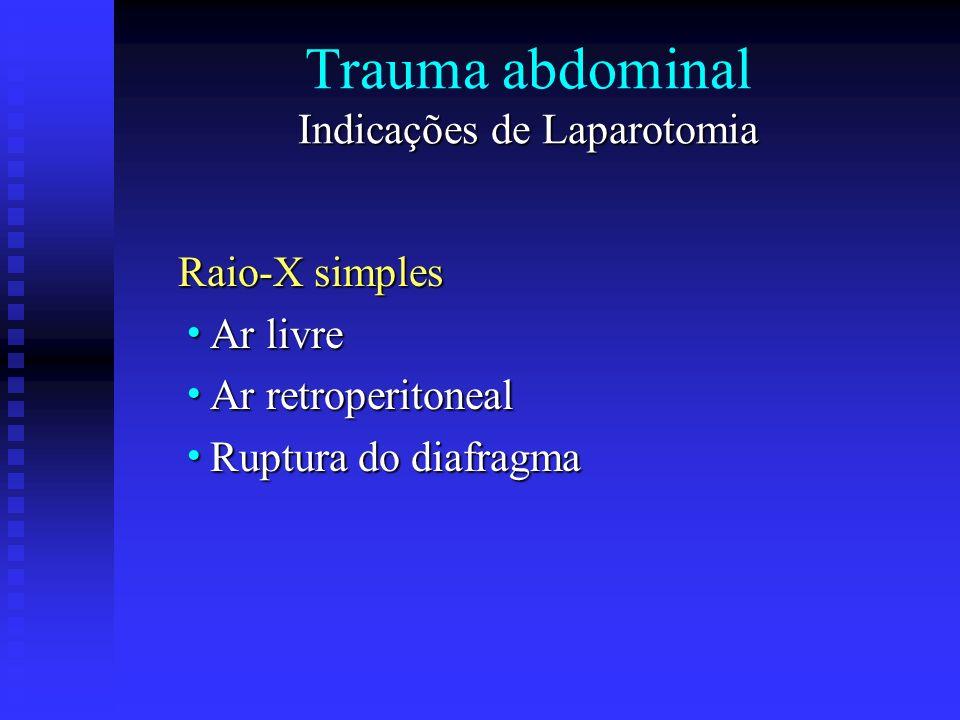 Indicações de Laparotomia Trauma abdominal Indicações de Laparotomia Raio-X simples Ar livre Ar livre Ar retroperitoneal Ar retroperitoneal Ruptura do