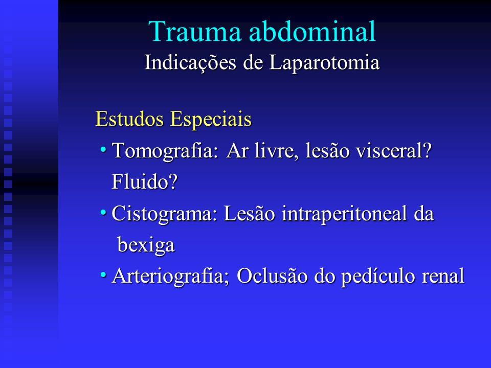 Indicações de Laparotomia Trauma abdominal Indicações de Laparotomia Estudos Especiais Tomografia: Ar livre, lesão visceral? Tomografia: Ar livre, les