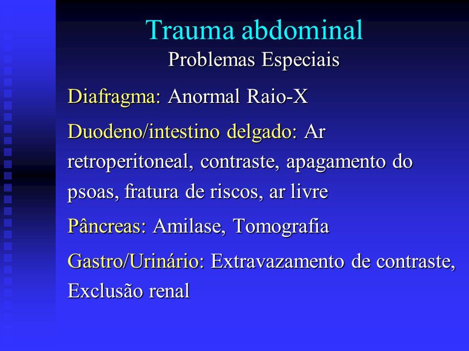 Problemas Especiais Trauma abdominal Problemas Especiais Diafragma: Anormal Raio-X Duodeno/intestino delgado: Ar retroperitoneal, contraste, apagament