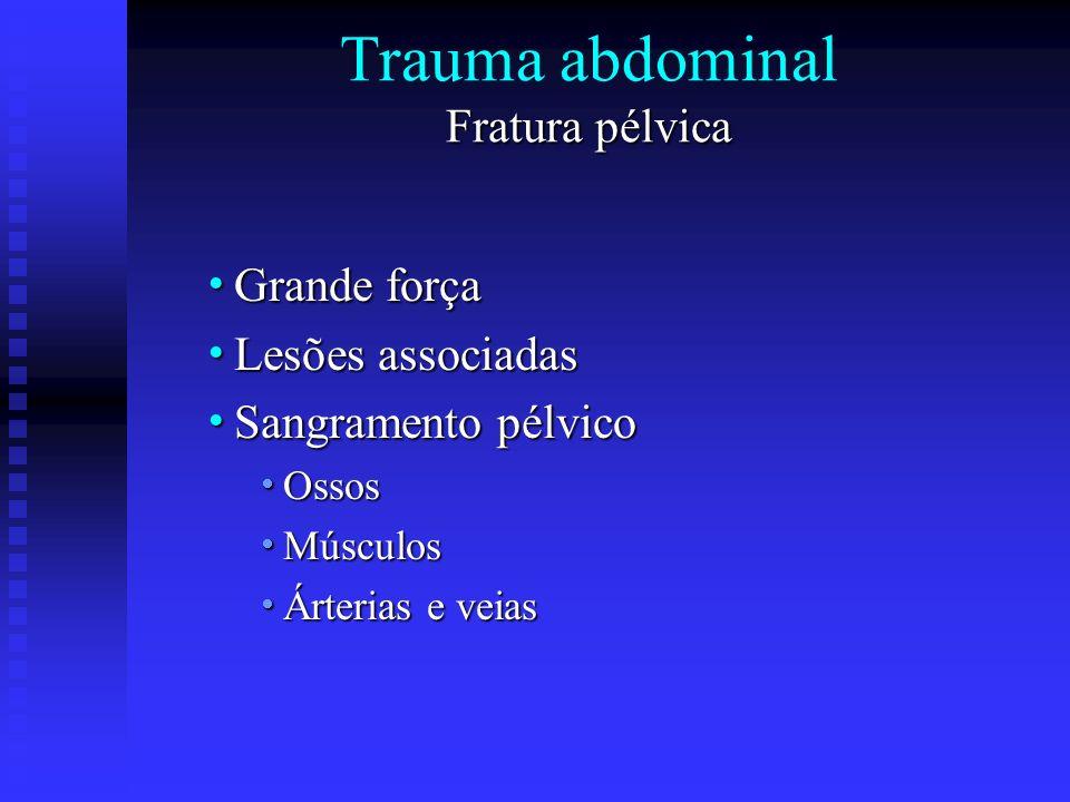 Fratura pélvica Trauma abdominal Fratura pélvica Grande força Grande força Lesões associadas Lesões associadas Sangramento pélvico Sangramento pélvico