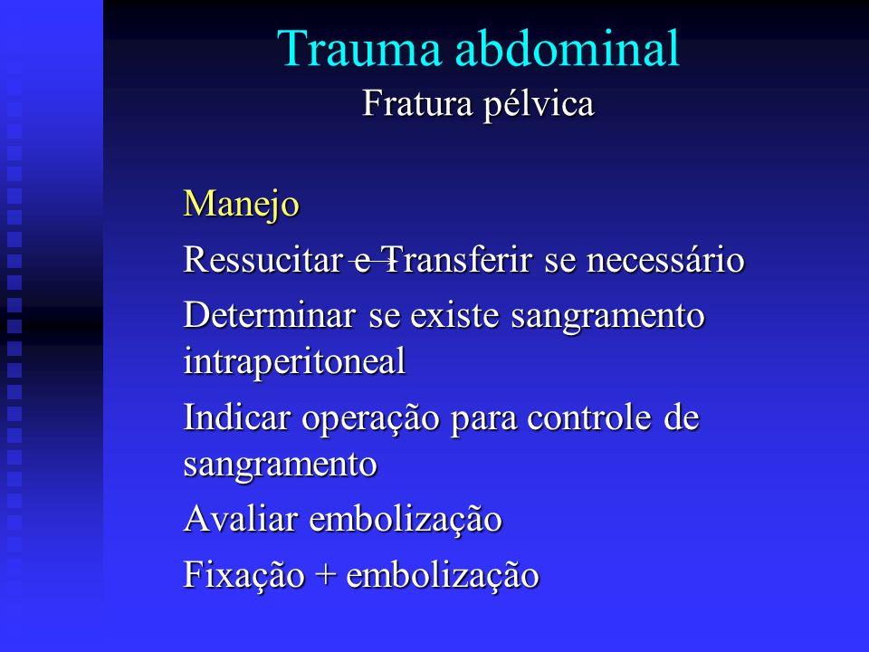Fratura pélvica Trauma abdominal Fratura pélvica Manejo Ressucitar e Transferir se necessário Determinar se existe sangramento intraperitoneal Indicar