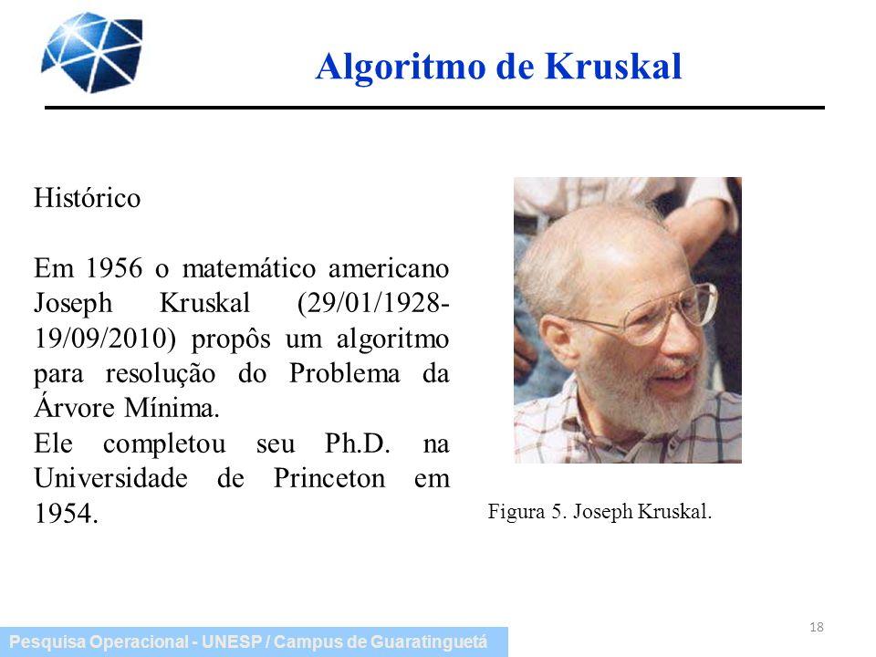 Pesquisa Operacional - UNESP / Campus de Guaratinguetá 18 Algoritmo de Kruskal Figura 5. Joseph Kruskal. Histórico Em 1956 o matemático americano Jose