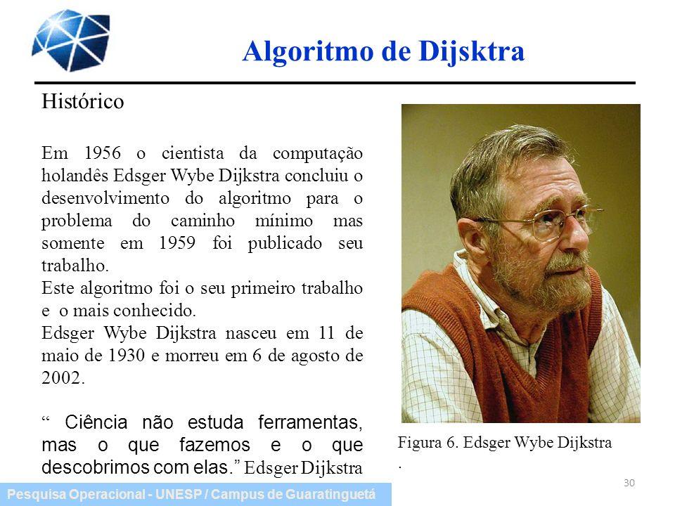 Pesquisa Operacional - UNESP / Campus de Guaratinguetá Algoritmo de Dijsktra 30 Figura 6. Edsger Wybe Dijkstra. Histórico Em 1956 o cientista da compu