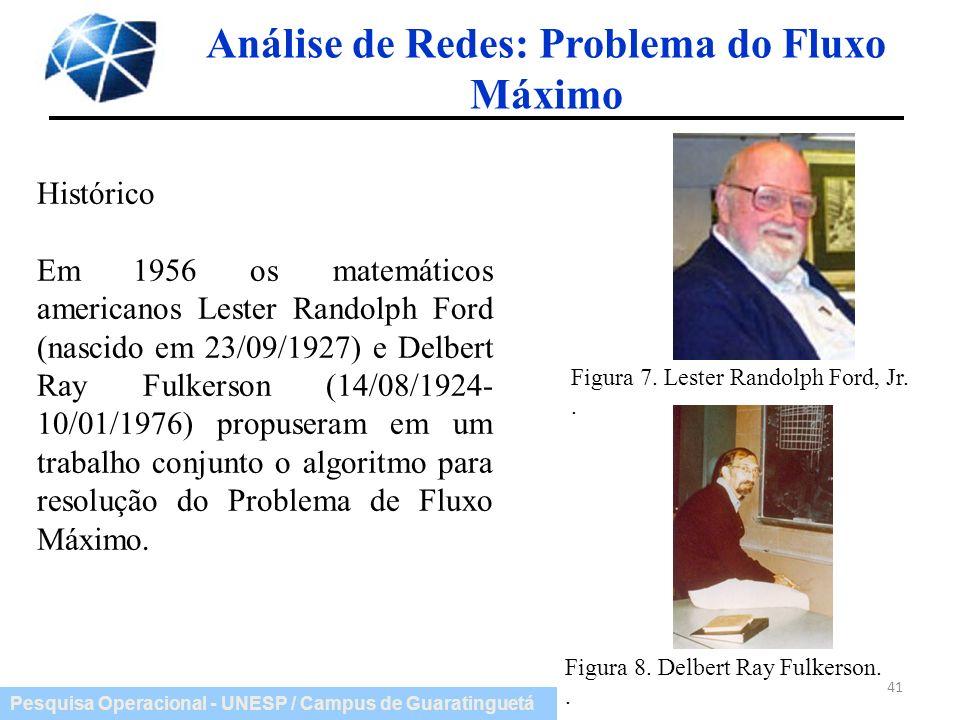 Pesquisa Operacional - UNESP / Campus de Guaratinguetá 41 Análise de Redes: Problema do Fluxo Máximo Figura 7. Lester Randolph Ford, Jr.. Figura 8. De