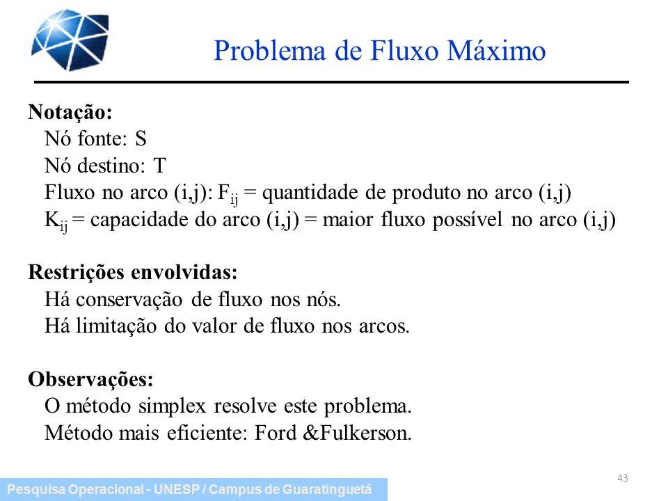 Pesquisa Operacional - UNESP / Campus de Guaratinguetá Problema de Fluxo Máximo 43 Notação: Nó fonte: S Nó destino: T Fluxo no arco (i,j): F ij = quan