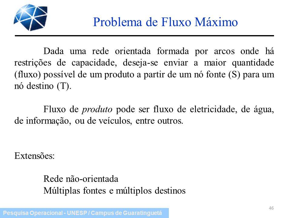 Pesquisa Operacional - UNESP / Campus de Guaratinguetá Problema de Fluxo Máximo 46 Dada uma rede orientada formada por arcos onde há restrições de cap