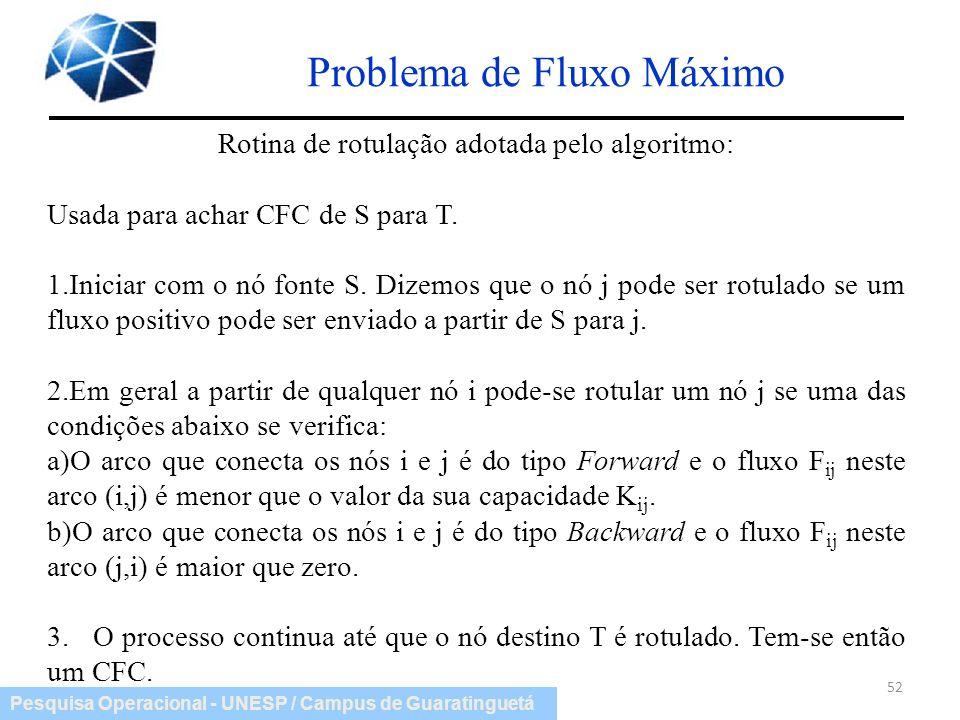Pesquisa Operacional - UNESP / Campus de Guaratinguetá Problema de Fluxo Máximo 52 Rotina de rotulação adotada pelo algoritmo: Usada para achar CFC de